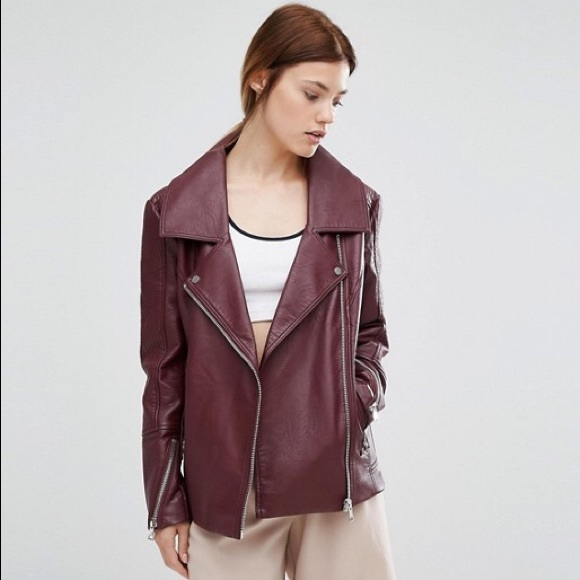 top brands rock-bottom price various kinds of nwt urbancode burgundy faux leather biker jacket NWT